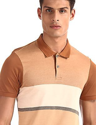 Arrow Newyork Brown Striped Regular Fit Polo Shirt