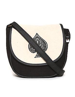 Bronz Black Spade Embroidered Canvas Sling Bag