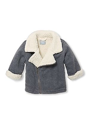 The Children's Place Baby Grey Sherpa Moto Jacket