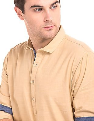 Cherokee Solid Cotton Popover Shirt