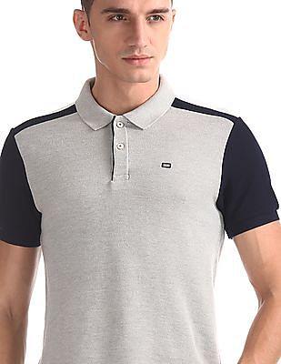 Arrow Sports Grey Colour Block Polo Shirt