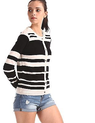 Cherokee Black And Beige Round Neck Striped Cardigan