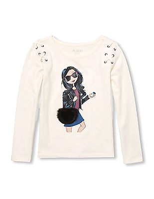 The Children's Place Girls Long Sleeve Lace-Up Graphic Top