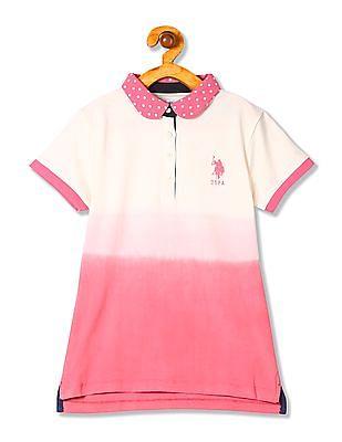 U.S. Polo Assn. Kids Girls Printed Collar Ombre Polo Shirt
