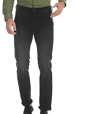 Flying Machine Black Michael Slim Tapered Fit Stone Wash Jeans