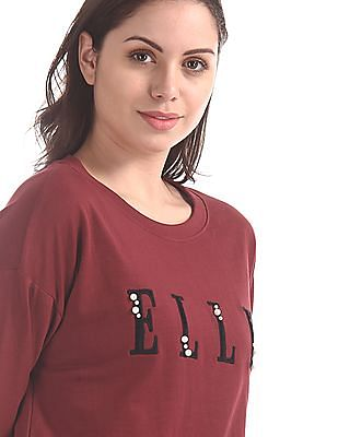 Elle Studio Red Crew Neck Cotton Sweatshirt