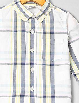 GAP Toddler Boy Plaid Button-Down Long Sleeve Shirt