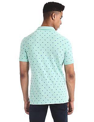 U.S. Polo Assn. Green Printed Pique Polo Shirt