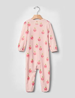 GAP Baby Pink Organic Fruit Footed One-Piece