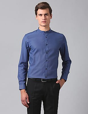 True Blue Slim Fit Patterned Weave Shirt