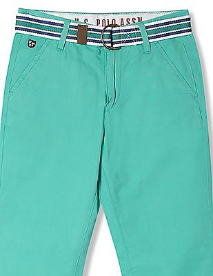 U.S. Polo Assn. Kids Boys Regular Fit Solid Trousers
