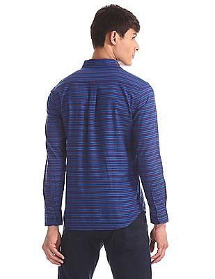U.S. Polo Assn. Blue Horizontal Stripe Cotton Shirt