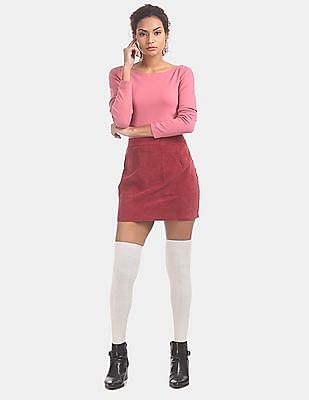 GAP Women Pink Modern Long Sleeve Boat Neck Tee