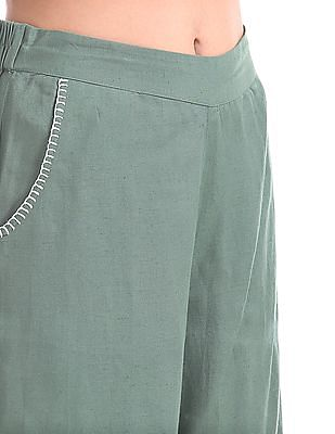 Bronz Solid Cropped Palazzos