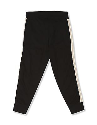 U.S. Polo Assn. Kids Black Boys Side Tape Knit Joggers