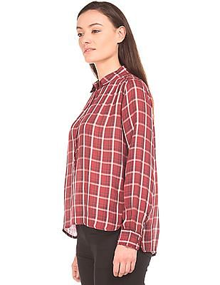 Flying Machine Women Regular Fit Check Popover Shirt