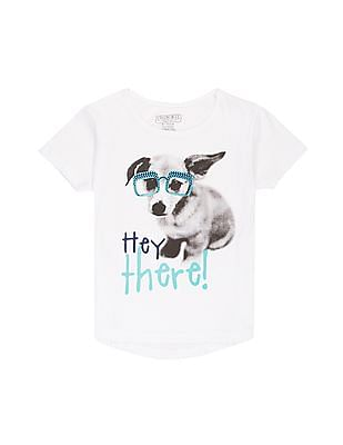 Cherokee Girls Puppy Print Cotton T-Shirt