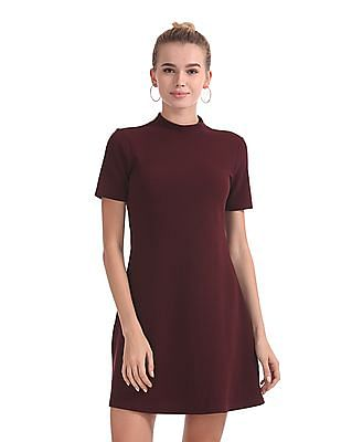 Flying Machine Women High Neck A-Line Dress