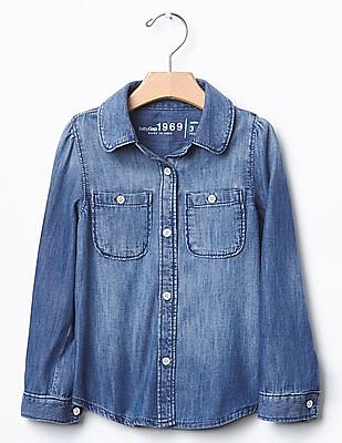 GAP Toddler Girl Blue Chambray Shirt