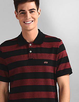 GAP Black Short Sleeve Stripe Jacquard Polo Shirt