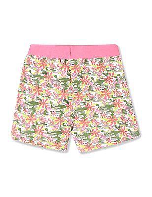 Donuts Girls Floral Print Knit Shorts