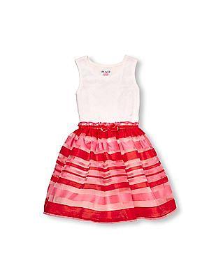 The Children's Place Girls Sleeveless Crochet Bodice Striped Tutu Dress