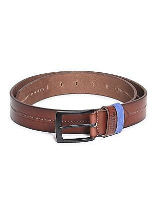 Flying Machine Chain Stitch Burnished Leather Belt
