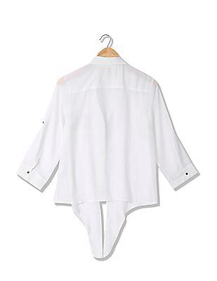 Flying Machine Women Sheer Shirt Top