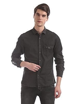 Colt Grey Sleeve Print Cotton Shirt