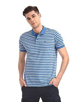 Ruggers Grey Short Sleeve Horizontal Stripe Polo Shirt