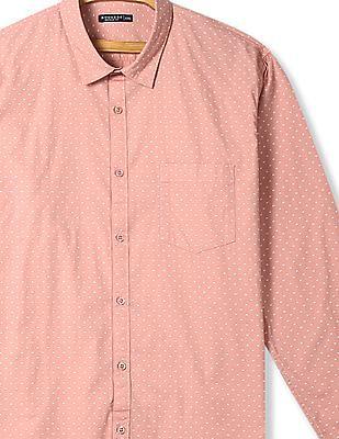 Ruggers Pink Mitered Cuff Printed Shirt