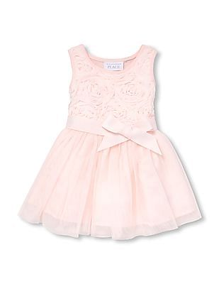 The Children's Place Toddler Girl Sleeveless 3D Flower Belted Knit-To-Woven Dress