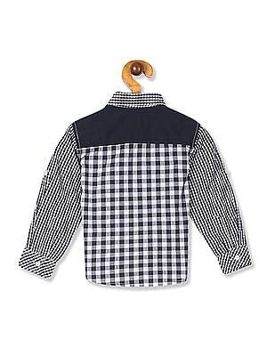 Donuts Blue Boys Roll Up Sleeve Check Shirt