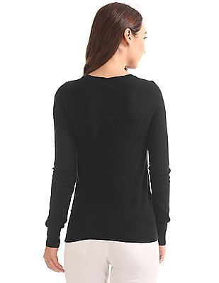 Elle V-Neck Solid Sweater