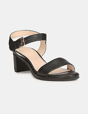 Cole Haan Women Black Open Toe Leather Block Heels