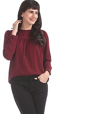 Elle Studio Red Ruffle Neck Solid Top