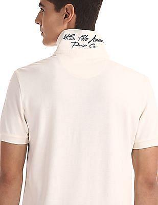 U.S. Polo Assn. Denim Co. White Printed Pique Polo Shirt