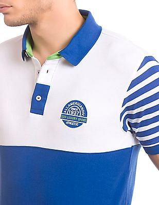 Izod Mathew blue slim-fit colour-block polo shirt