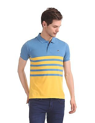 Ruggers Yellow And Blue Striped Polo Shirt