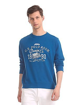 U.S. Polo Assn. Blue Front Print Crew Neck Sweatshirt
