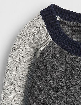 GAP Baby Cable-Knit Colour Block Sweater