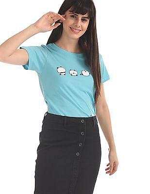 SUGR Blue Cotton Printed T-Shirt