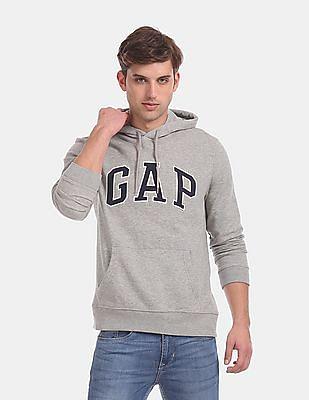 GAP Men Grey Logo Fleece Pullover Hoodie