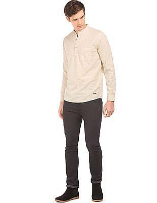 Cherokee Printed Cotton Linen Popover Shirt