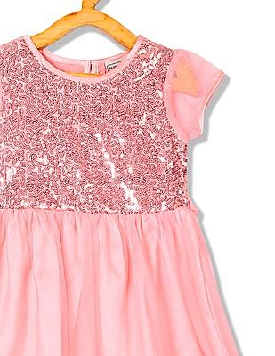 Cherokee Girls Sequin Yoke Fit And Flare Dress