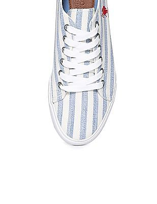 U.S. Polo Assn. Contrast Sole Striped Canvas Sneakers