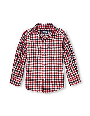 The Children's Place Toddler Boy Multi-Colour Long Sleeve Checked Print Poplin Button-Down Shirt