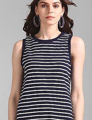 GAP Women Blue Slub Knit Striped Maxi Dress