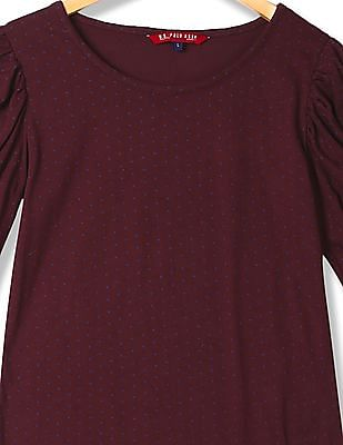U.S. Polo Assn. Women Ruched Sleeve Printed Top