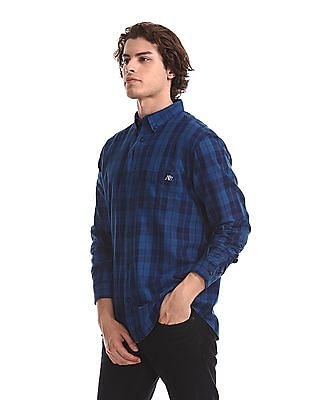 Aeropostale Blue Button Down Check Shirt